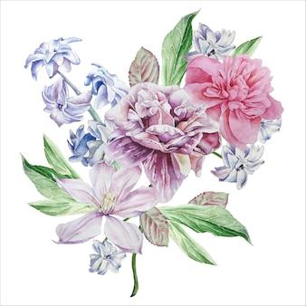 Aquarel bloemen op een witte achtergrond