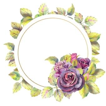 Aquarel bloemen van donkere rozen groene bladeren samenstelling in een geometrische gouden frame