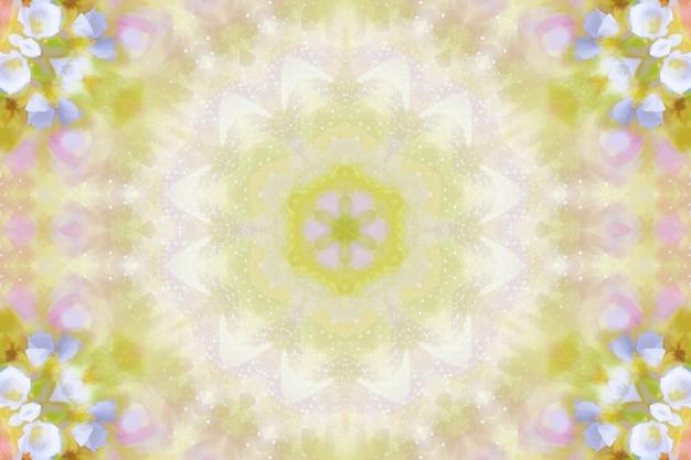 Aquarel bloemen wazig, bloemen lente patroon achtergrond, symmetrie herhaling illustratie van lentebloemen, heldere bloemen achtergrond