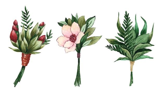 Aquarel bloemenboeket clipart set met bladeren en bloemen