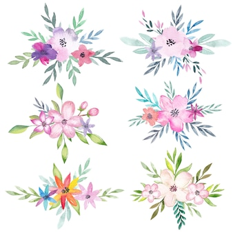 Aquarel bloemenboeketten