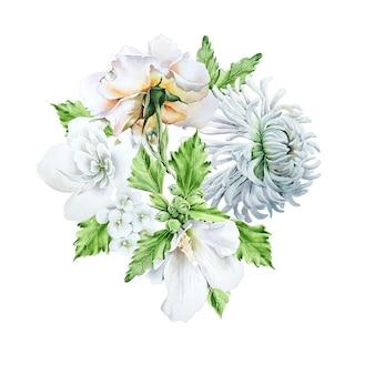 Aquarel boeket met bloemen. ã hrysanthemum. kaasjeskruid. roos. aquarel illustratie. hand getekend.