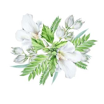 Aquarel boeket met bloemen. kaasjeskruid. yucca. aquarel illustratie. hand getekend.
