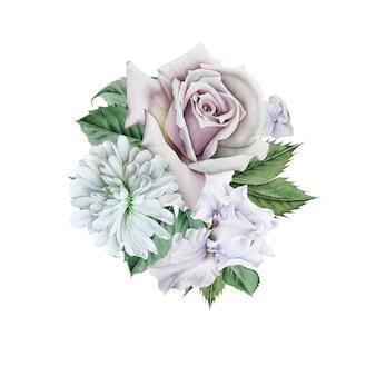Aquarel boeket met bloemen. roos. iris. ã hrysanthemum. illustratie. hand getekend.