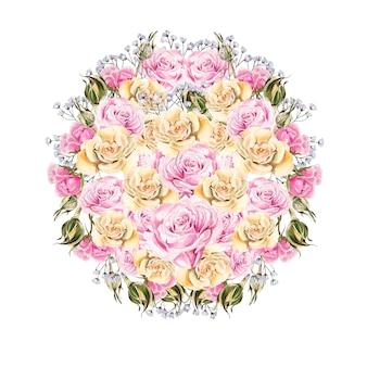Aquarel boeket met rozen