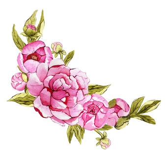Aquarel boeket van roze pioenrozen voor een speciale gelegenheid