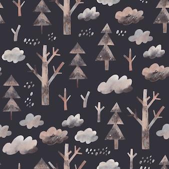 Aquarel bos achtergrond. naadloos patroon met bomen, wolken. winter landschap.
