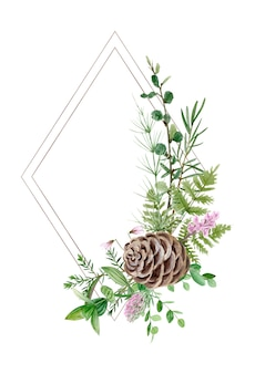 Aquarel bos groen frame perfect voor logo en bruiloft uitnodiging botanische illustratie botanical