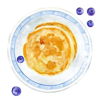 Aquarel bosbessen en pannenkoeken op plaat