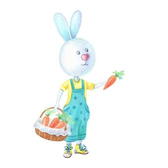 Aquarel bunny met een rieten mand