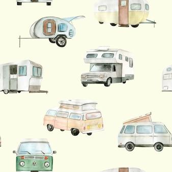 Aquarel camper, auto naadloze patroon. handgeschilderde illustratie.