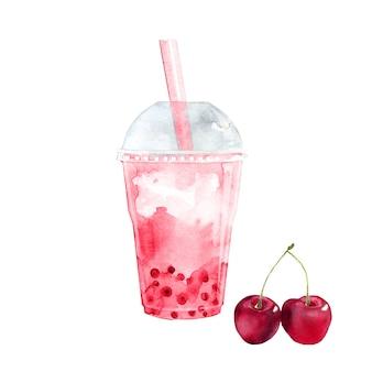 Aquarel cherry bubble tea met tapiocaparels