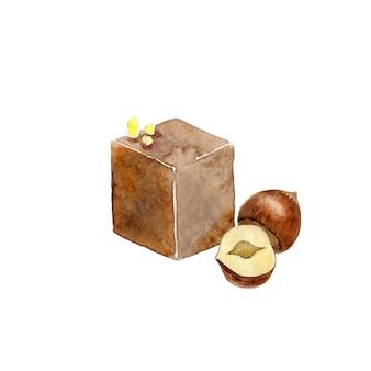 Aquarel chocoladepraliné met hazelnoot