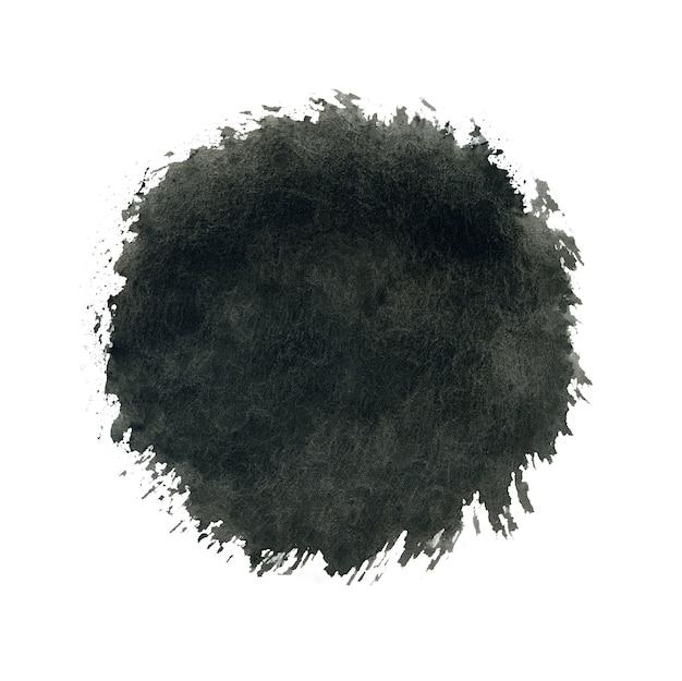 Aquarel cirkel, zwarte druppel splash op wit