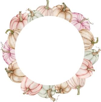 Aquarel cirkelframe met kleurrijke pastel pompoenen.