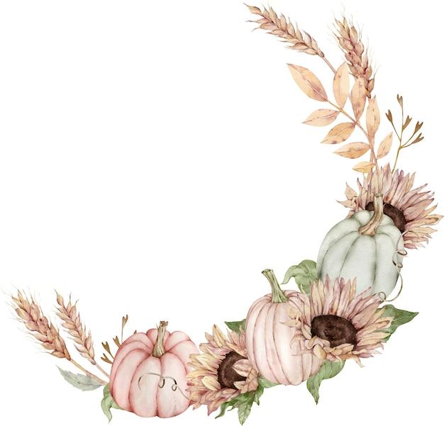 Aquarel cirkelframe met pompoenen en zonnebloemen, korenaren.