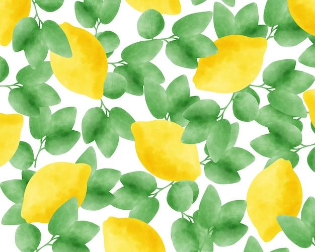 Aquarel citroenen naadloze patroon.