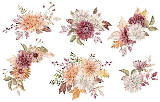 Aquarel collectie herfst bloemen boeketten. crimson, witte en oranje asters en chrysanten en herfstbladeren geïsoleerd op de witte achtergrond.