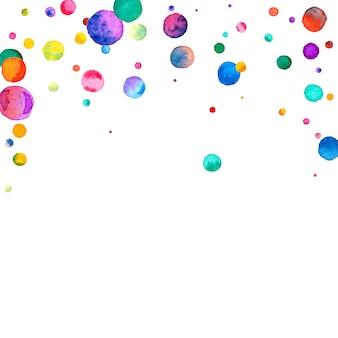 Aquarel confetti op witte achtergrond. bewonderenswaardige regenboog gekleurde stippen. gelukkige viering vierkante kleurrijke heldere kaart. uitstekende handgeschilderde confetti.