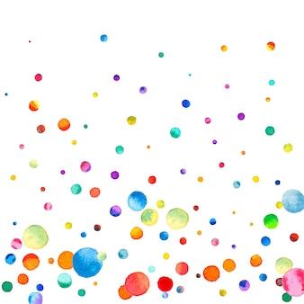 Aquarel confetti op witte achtergrond. bewonderenswaardige regenboog gekleurde stippen. gelukkige viering vierkante kleurrijke heldere kaart. vet handgeschilderde confetti.