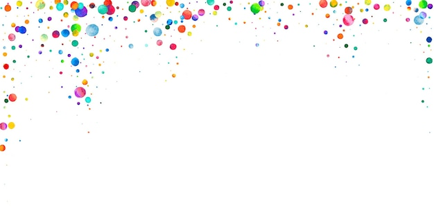 Aquarel confetti op witte achtergrond. levend regenboog gekleurde stippen. gelukkige viering brede kleurrijke heldere kaart. stralende handgeschilderde confetti.