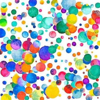 Aquarel confetti op witte achtergrond. schattige regenboog gekleurde stippen. gelukkige viering vierkante kleurrijke heldere kaart. nieuwsgierige handgeschilderde confetti.