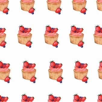Aquarel cupcakes naadloze patroon