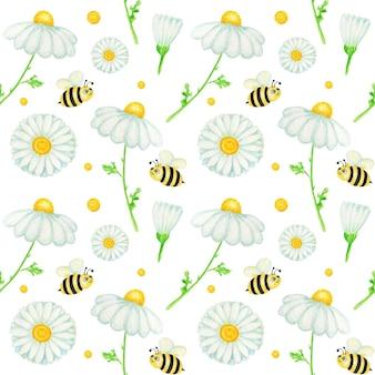 Aquarel daisy kamille naadloze bloemenpatroon met fly bee. botanische kruiden achtergrond.