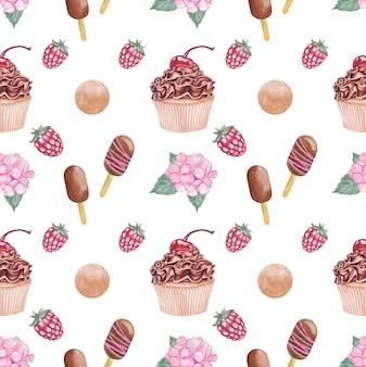 Aquarel desserts en hortensia's naadloze patroon