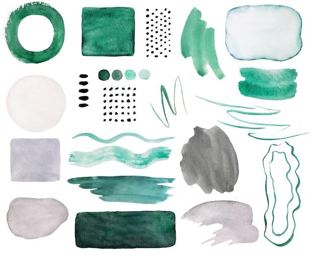 Aquarel donkergroen en grijs geschilderde abstracte elementen. hand getekende moderne print set illustratie