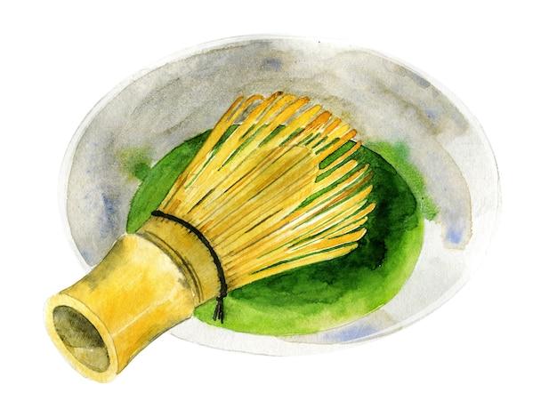 Aquarel draadgarde en matcha thee in beker