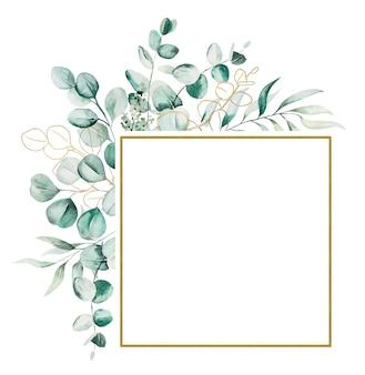 Aquarel eucaliptus verlaat frame