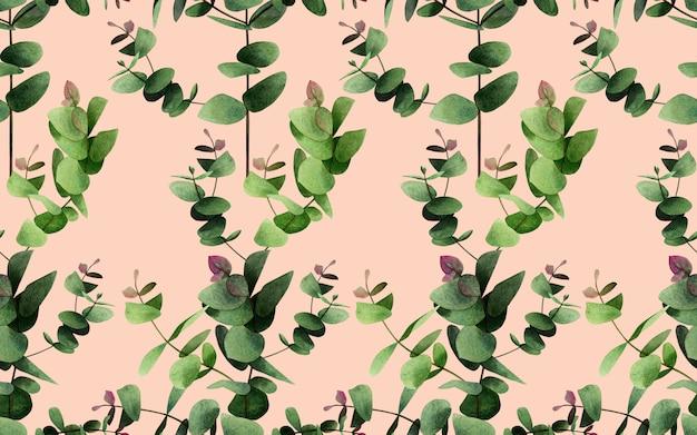 Aquarel eucalyptus takken laat naadloze patroon achtergrond