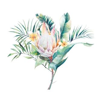 Aquarel exotische planten boeket. hand getrokken bloemdessin met tropische bloemen, bladeren en takken geïsoleerd op een witte achtergrond. palmboom, protea, bananenbladeren, frangipanibloem