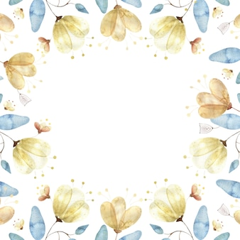 Aquarel frame met gouden bloemknoppen, grote abstracte bloemen en bladeren op wit