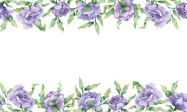 Aquarel frame met grote lila bloemen van pioenrozen en takken van bladeren op een witte achtergrond