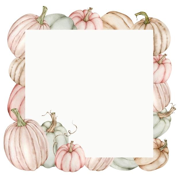 Aquarel frame met pastel pompoenen. dankzegging en herfstsjabloon.