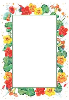 Aquarel frame sjabloon met oost-indische kers bloemen