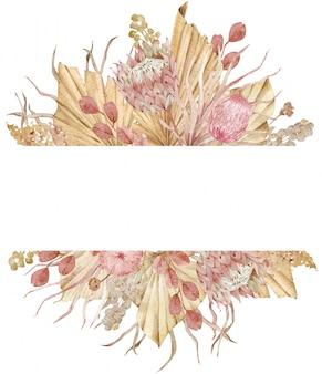 Aquarel gedroogde tropische bladeren, gras en exotische bloemen in het frame. beige sjabloon voor tekst.