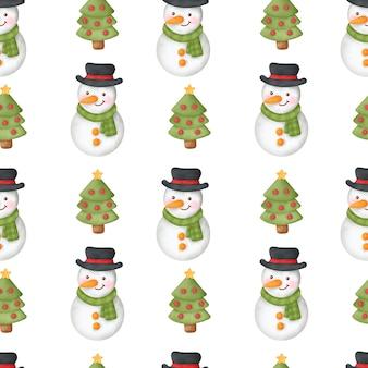 Aquarel gelukkige kerstdag naadloze patronen.