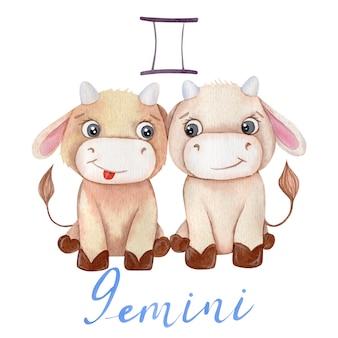Aquarel gemini bull symbool zodiac