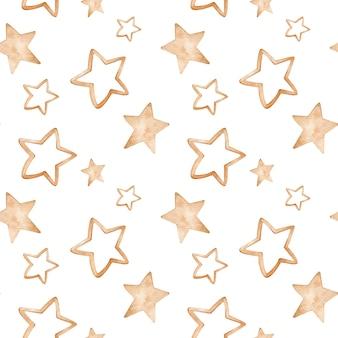 Aquarel gouden sterpatroon. handgetekende naadloze achtergrond.