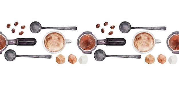 Aquarel grens met elementen van de koffie