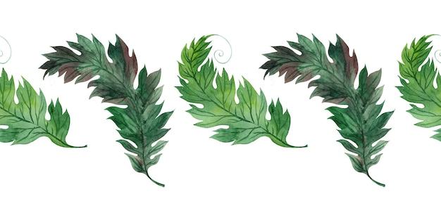 Aquarel grens met gestileerde groene bladeren