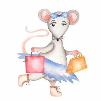 Aquarel grijze muis in een blauwe rok en laarzen met handtassen