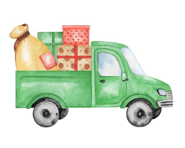 Aquarel groene auto met cadeautjes doos illustratie, kerst vrachtwagen clipart, nieuwe jaar decoratie