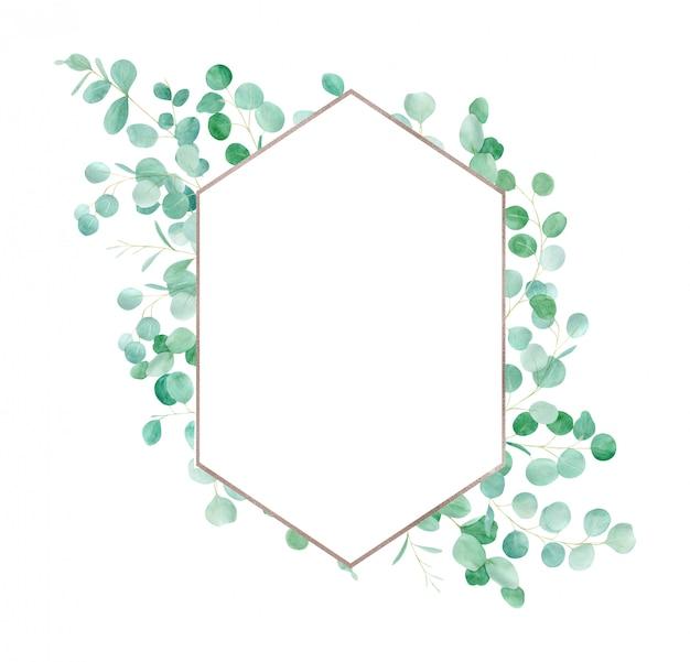 Aquarel groene bloemen frame met eucalyptus