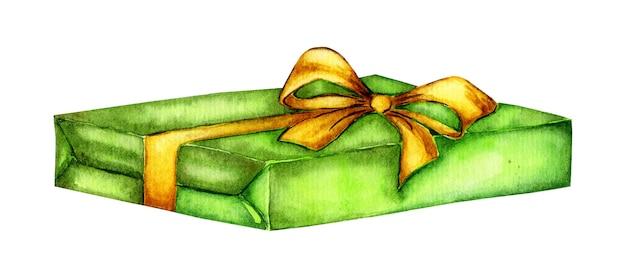 Aquarel groene geschenkdoos gebonden met geel lint illustratie
