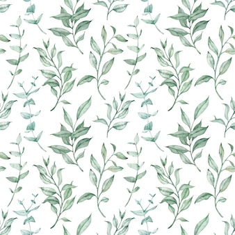 Aquarel groene kruiden en eucalyptus naadloze patroon. vintage bloemen achtergrond. botanische bladeren en takken illustratie.