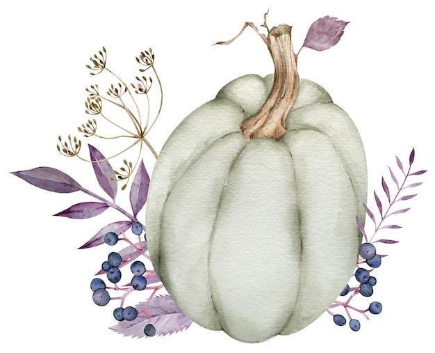 Aquarel groene pompoen met paarse bladeren en bessen, dille tak. herfstdecoratie. thanksgiving illustratie.